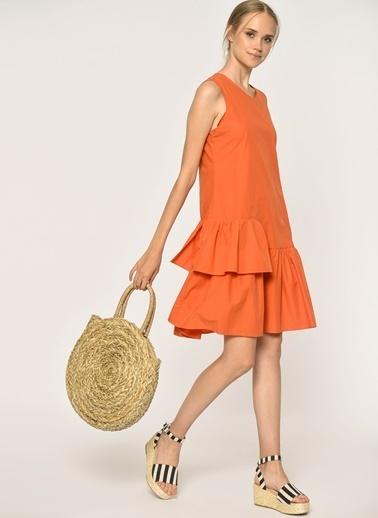 Loves You Parça Detaylı Kolsuz Poplin Elbise Mercan